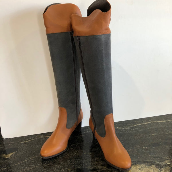 Tan and Grey Knee Length Boot in size 3/36.
