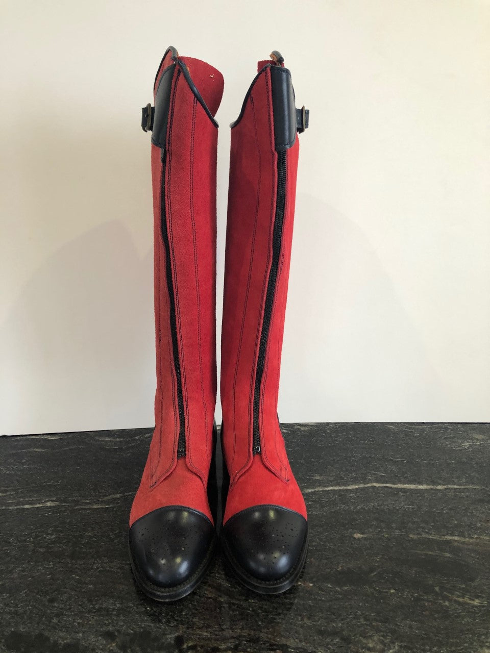 Sun damaged Red and Navy polo boot in size 3/36.