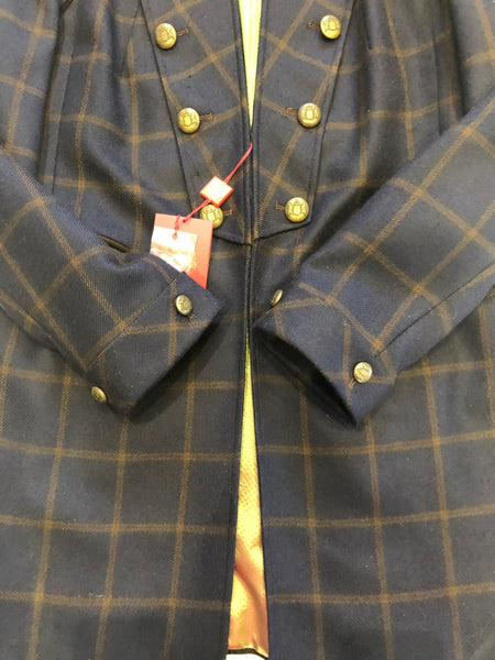 Navy with Brown check mid length Coat Napoleon style size 20