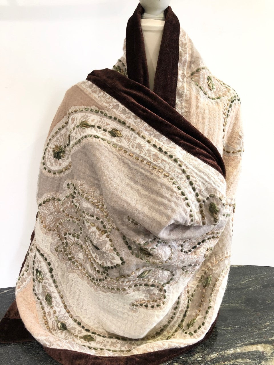 Shawl in Natural Shades with Chocolate Velvet Trim.