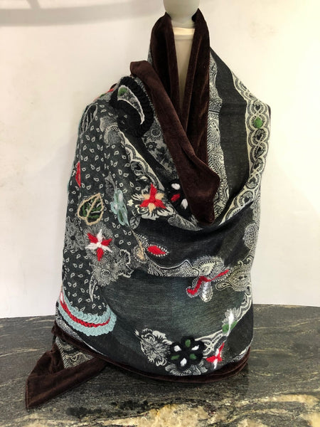 Shawl in Black, Greys with Colours and Chocolate Velvet.