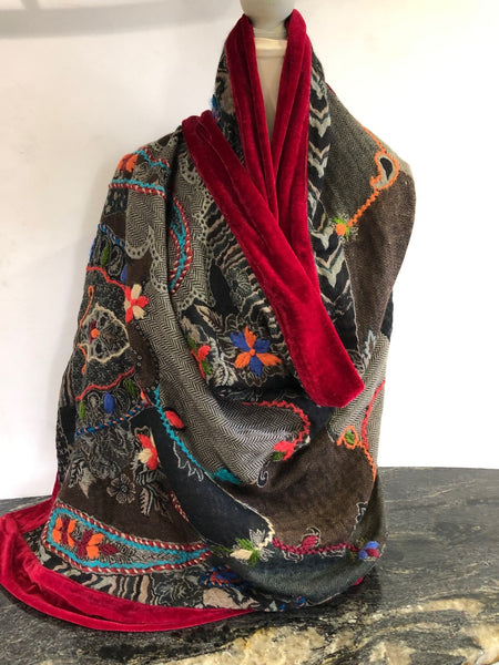Shawl in Black with a mix of Embroidery Colours with a Deep Claret Velvet Trim.