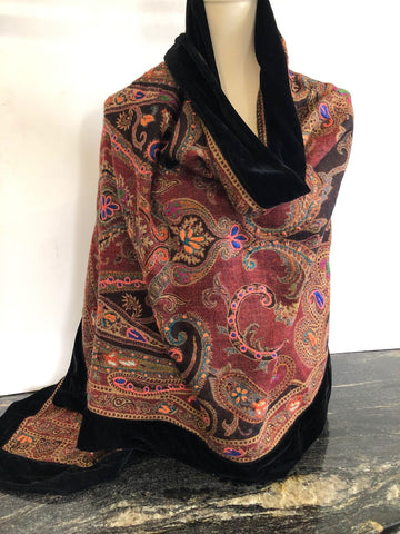 Shawl in Black with mix of Colours with a Black Velvet Trim.
