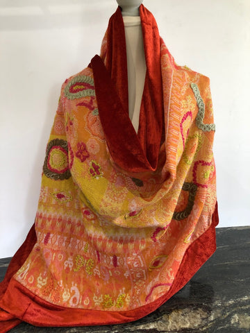 Shawl in Orange with Rust Velvet Trim.