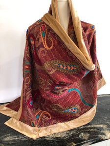Shawl in Burgundy and Camels with a Camel Velvet Trim.