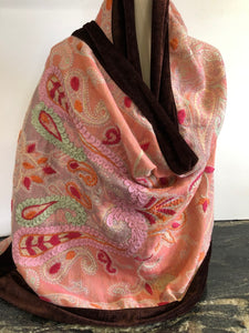 Shawl in Pink and Peach with a Chocolate Velvet Trim