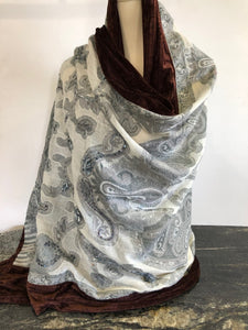 Shawl in Grey Mix with Chocolate Velvet Trim.