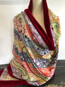 Shawl in Multi Colours with a Burgundy Velvet Trim.
