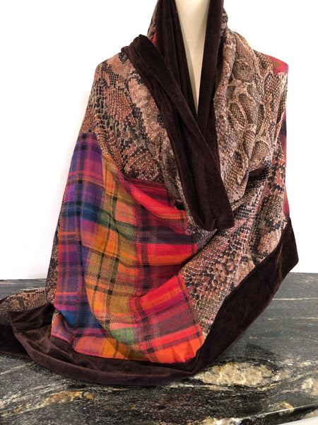 Shawl in Brown with Vibrant Colours and Chocolate Velvet Trim.
