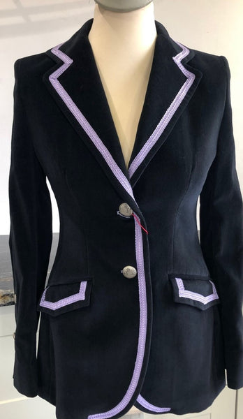 Black Velvet Jacket with Lilac Braid Trim.