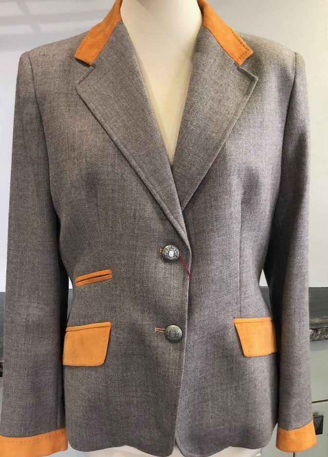 Marl Beige and Mustard Collar Jacket Size 18