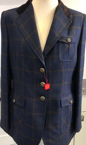 Navy and Brown Jacket with Vent Pleats at the Back and Tabs at the Side.
