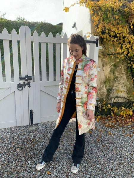 Satin Printed Semi-fitted Coat in Creams and Pastels.