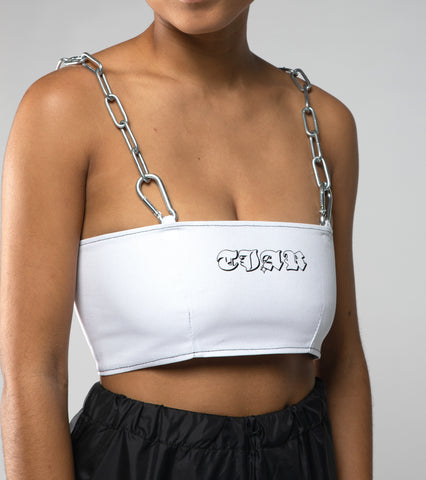 White chain strap top
