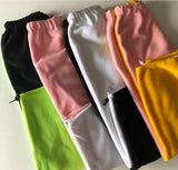 Half & half colour fleece joggers