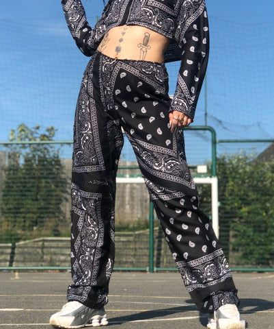 Paisley patchwork pants BLACK