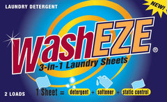 WashEZE All in One Laundry Sheet 2 Packs - Great For Travel!