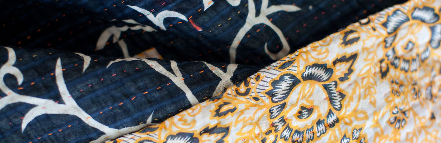 Kantha Blankets | Large Bed & Couch Throws