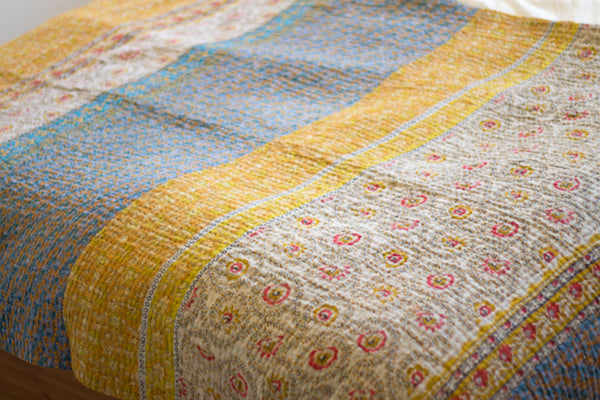Custom Made King & Queen Sized Kantha Quilts | dignify