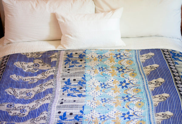 Custom Made King Queen Sized Kantha Quilts Dignify
