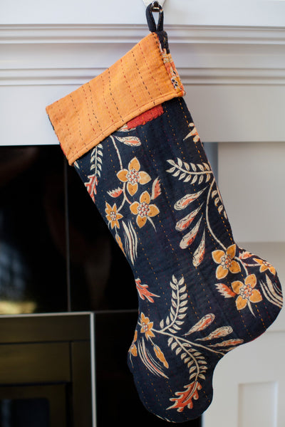 Kantha Holiday Stocking F6