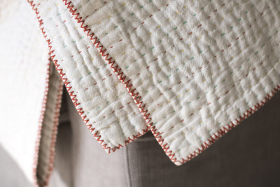 Natural Off-White Kantha Throw - dignify  - 4