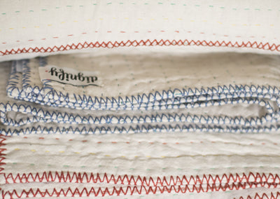 Natural Off-White Kantha Throw - dignify  - 6