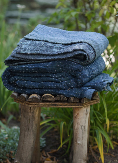 Natural Indigo Dyed Kantha Quilts - dignify  - 4