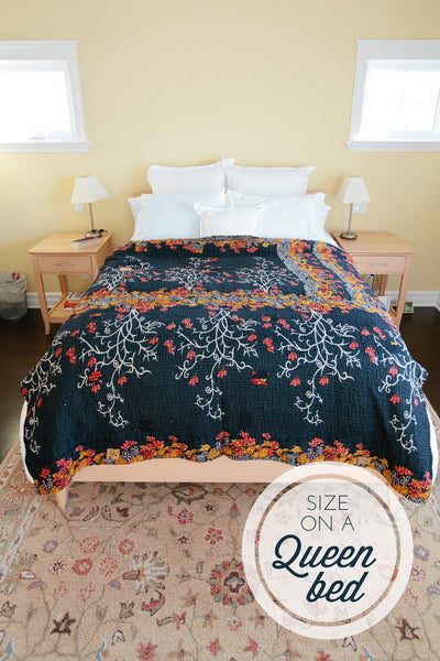 Kantha Throw Bed Quilt