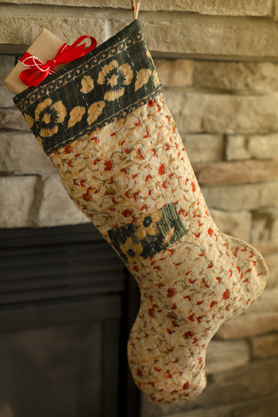 Kantha Holiday Stocking F8