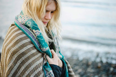 Astonishing Kantha Throw