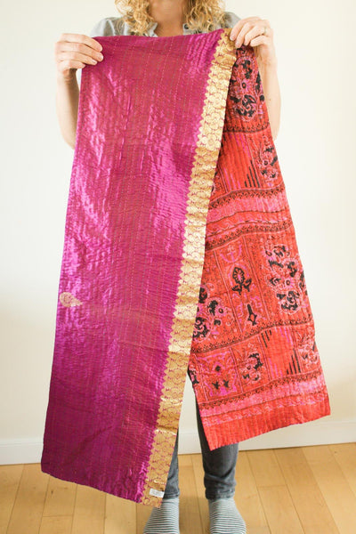 Kantha Table Runner Silk Blend J1