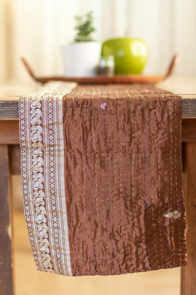 Kantha Table Runner Silk Blend H5