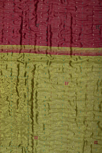 Thyme Holiday Silk Blend Kantha Throw