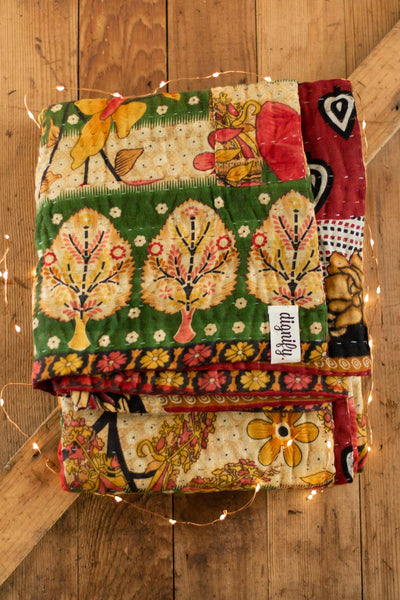 Cider Holiday Kantha Throw