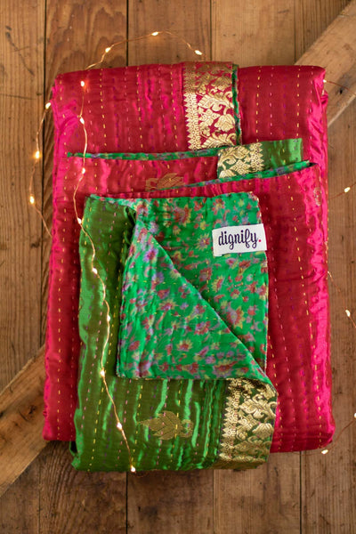 Crimson Holiday Silk Blend Kantha Throw