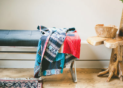 Red Kantha Throw