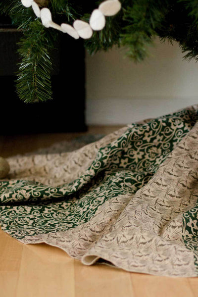 Kantha Christmas Tree Skirt Joy 8