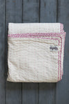Natural Kantha Mini Baby Quilt (Pink)