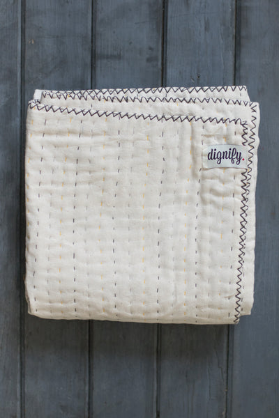 Natural Kantha Mini Baby Quilt (Grey)