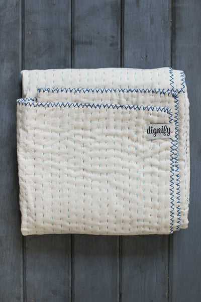 Natural Kantha Mini Baby Quilt (Blue)