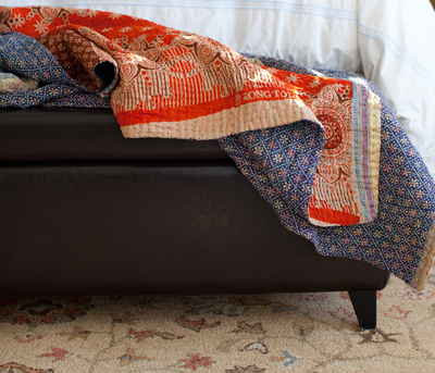 Ginger Kantha Throw