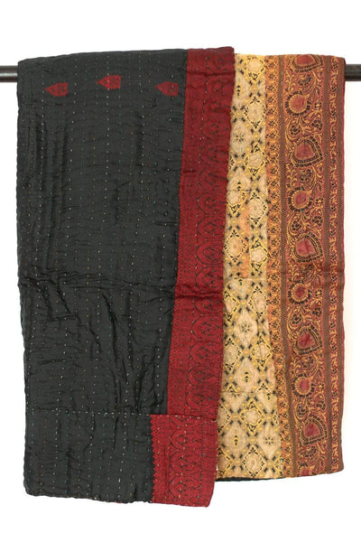 Kantha Silk Throw Blanket