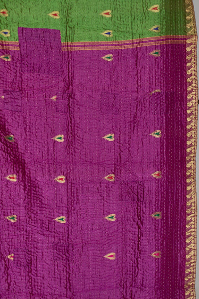 Granite Silk Blend Kantha Throw