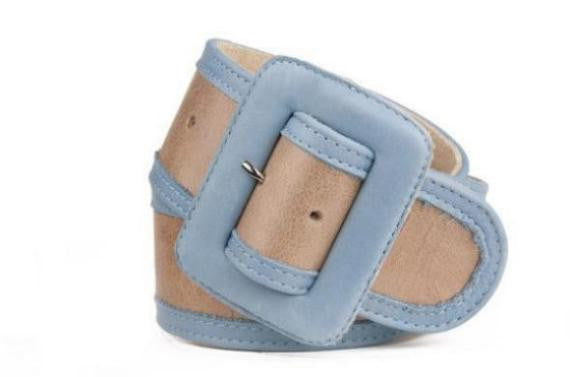 Keggy Girl Belt (Beige/Blue)