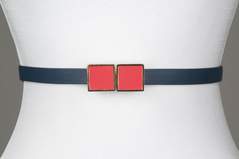 Square Enamel Buckle (Chilly Red)