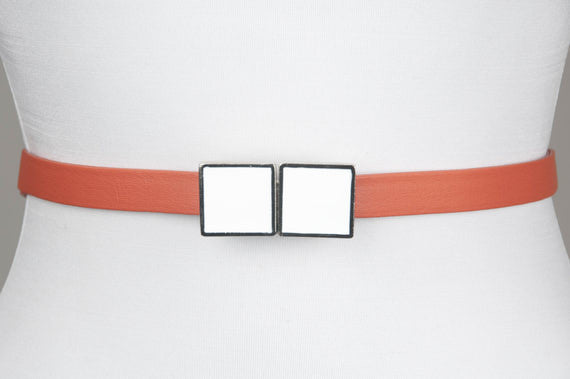 Square Enamel Buckle (White)