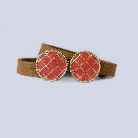 BasketWeave Buckle in Poppy