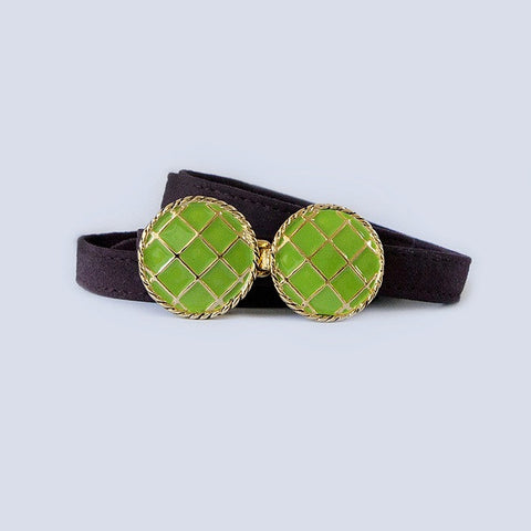 BasketWeave Buckle in Kelly Green