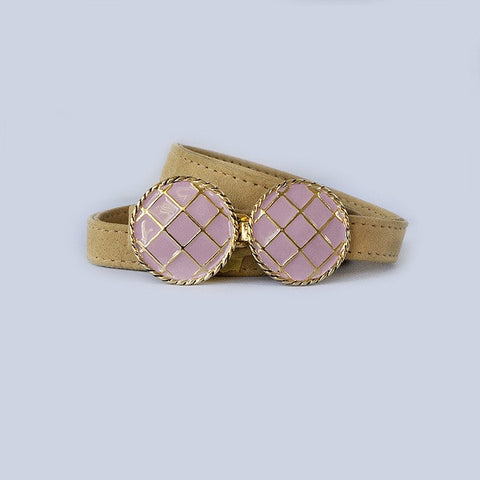 BasketWeave Buckle in Pink